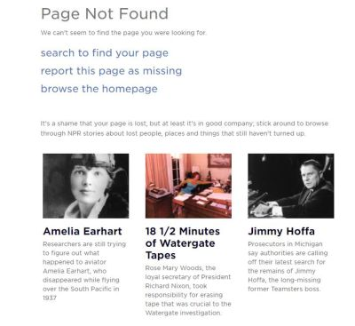 White background with pictures of Amelia Earhart, Watergate hotel, and Jimmy Hoffa referencing articles about lost things