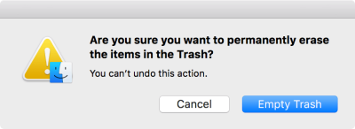 This default confirmation overlay appears in macOS when permanently deleting items.