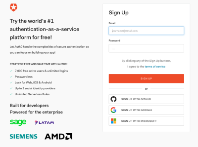 creation of an Auth0 account using the Sign Up page