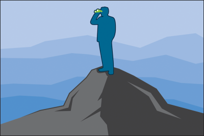 Man standing on a mountain looking out with binoculars
