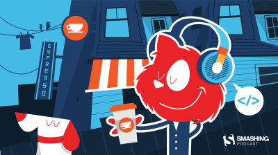 Topple the cat wearing headphones and holding a coffee-to-go cup while listening to the Smashing Podcast