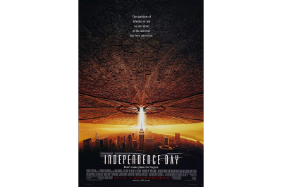 The Independence Day poster fills its white space with a spaceship