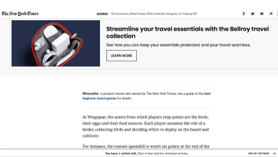 An image of a NY Times article broken up in several places with advertising unrelated to the content
