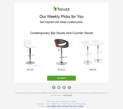 Email with an unsubscribe link from Houzz