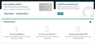 Netlify's initial deployment screen