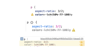 From top to bottom: Chromium, Firefox, and Safari dev tools indicating lack of support for lch color, with Safari also not supporting aspect-ratio.