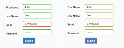 The form field's design relies only on red and green to indicate fields with and without an error. Color-blind users cannot differentiate the fields highlighted in red.