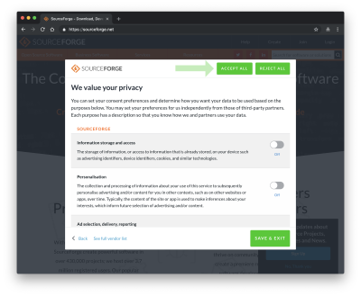sourceforge privacy settings