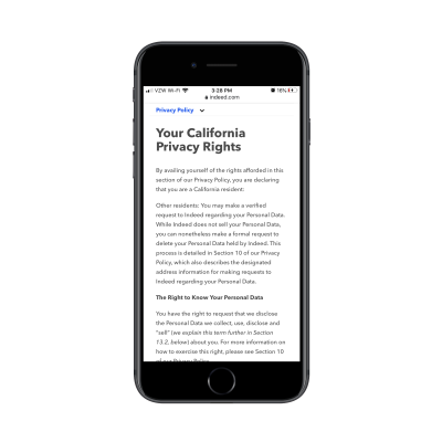 Indeed legal page on mobile with sticky top navigation