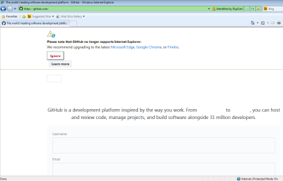 """Screenshot of GitHub homepage, with a """"no longer supports Internet Explorer"""" message on it"""