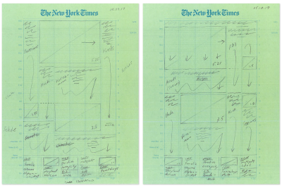 Pencil sketch plan of a New York Times front page spread