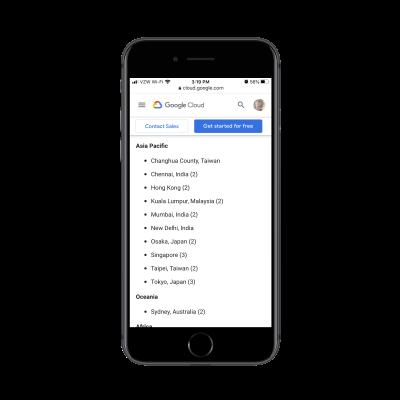 Google Cloud CDN caching - list of cities