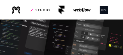 Logos and screenshots showing the code behind tools developed by companies like Modulz, Studio.Design, FramerX, and others.