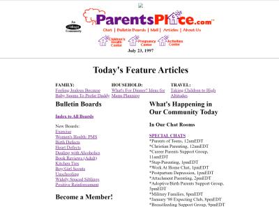A screenshot of the 1997 ParentsPlace website