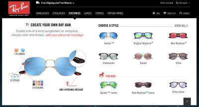 Rayban glasses configurator