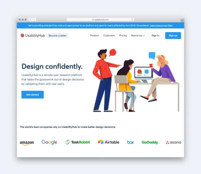 Usability Hub Homepage