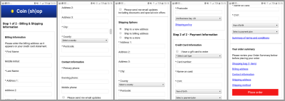 A typical, long checkout form on mobile