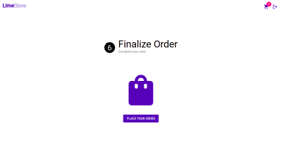 Screenshot of order placement page
