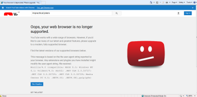 """Screenshot of IE8 YouTube homepage: """"Your web browser is no longer supported"""""""