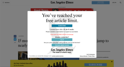 An example message that a web site with a paywall (where a visitor must be subscribed and pay to view most content) might display to a visitor that has reached their limit of free content. Some content republishing services advertise an ability to bypass these limitations.