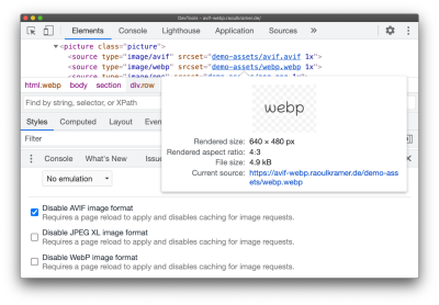 Chrome DevTools allows you to test differing fallbacks for WebP, AVIF or JPEG XL in the Rendering panel.