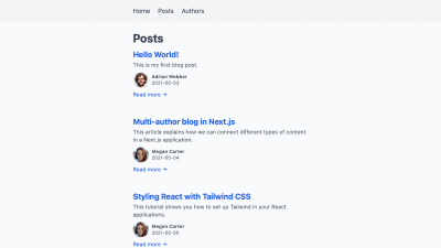 A list of blog posts, including the names and headshots of their authors.