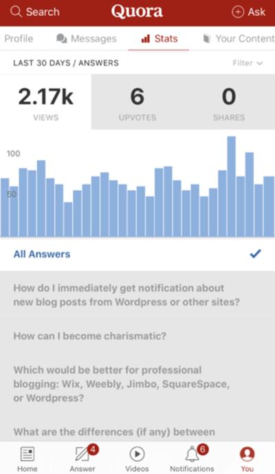 User profile screen in Quora app