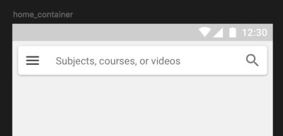 The app bar and search input for this prototype