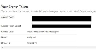 Retrieving Twitter's Access Tokens