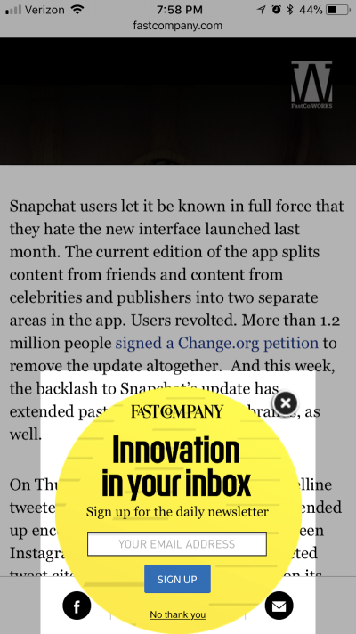 Example of how a modal pop-up works on mobile