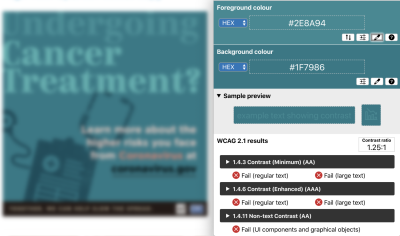 """PSA with low vision simulation filter applied – color contrast ratio of 1.25:1 with the word """"Undergoing"""" against the background with teal blue colored PSA"""