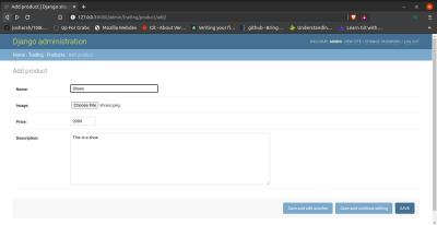 this shows admin admin adding a product to the site.
