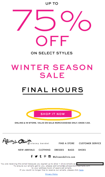 This email from 'Alice and Olivia' has a CTA in bright pink, contrasting with the white background.
