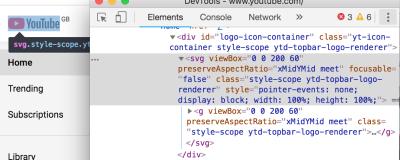 Screenshot of Chrome DevTools inspecting YouTube logo