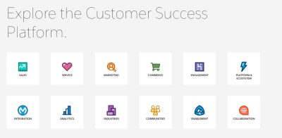 An example of a 'customer success platform' with 12 options to choose from