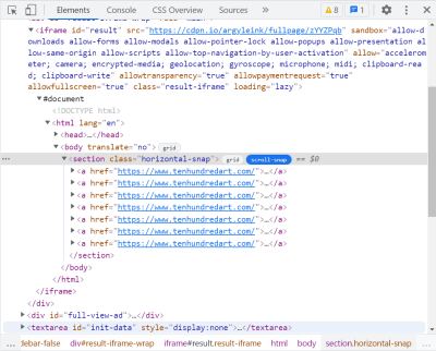 Screenshot of Chrome DevTools' Elements panel showing a scroll-snap badge in the DOM tree