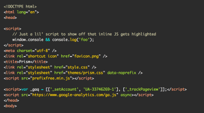 Screenshot of the a11y-dark theme, which uses red, green, teal, and gold colors on a dark gray background to highlight sample HTML and JavaScript code.