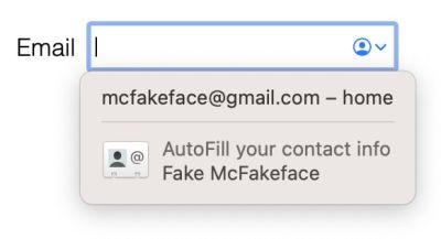 Screenshot of Safari autofill suggestion, showing the email, and below the profile