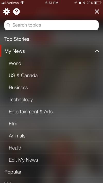 BBC News navigation