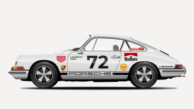Final image 3/3: Add the background and complete the Porsche 911 tutorial illustration!