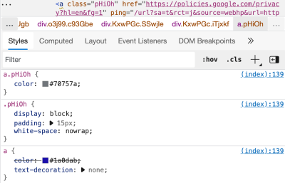 A preview of styles displayed in Edge DevTools for a link element showing the cascade of three rules applied