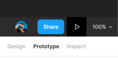 Part of the Figma interface with focus on the Play icon used for prototypes