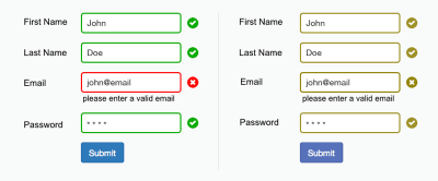 The use of icons and labels to show which fields are invalid better communicates the information to a color-blind user.