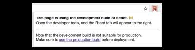 "React Developer Tools' ""production build"" warning"