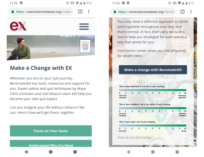 The BecomeAnEX app helps people quitting smoking to focus on their goals and internal motivators. It looks at the lasting benefits as well as how someone is feeling today, so that quitting becomes more than an impulse.