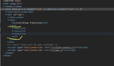 ul tag highlighted in dev tools.