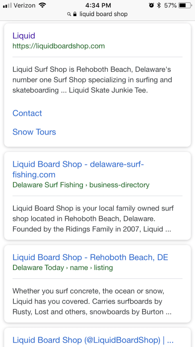 Refer to the first search result for Liquid Surf Shop. Notice how succinctly it's written.