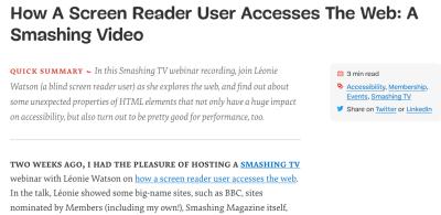 Screenshot of the top of a Smashing Magazine article