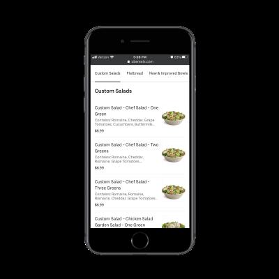 Uber Eats sticky menu