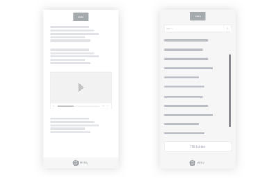 A wireframe of a reimagined large menu